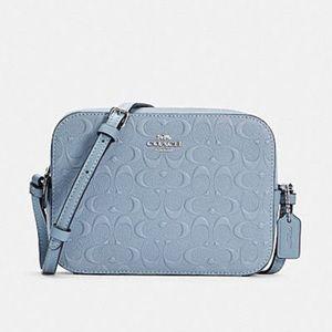 Coach Mini Camera Bag In Signature Leather Sky Blue